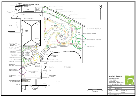 Plan of a spiral pictorial-meadow family_garden built around a home office