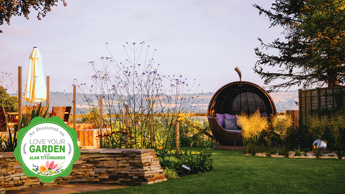 Apple pod, stone seat, deck and a beautiful view in Sophia's TV-featured garden - Wylam Garden by Sophia's Gardens